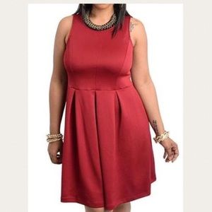Plus Size Red Sleeveless Party Dress 1X 1XL 14 16